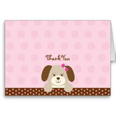 Pink Puppy Thank You Note Cards