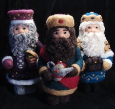 Soft Sculpture, Sculptures, We Three Kings, Three Wise Men, Needle Felted, Felt Christmas Ornaments, Felt Art, Wool Felt, Kids Toys