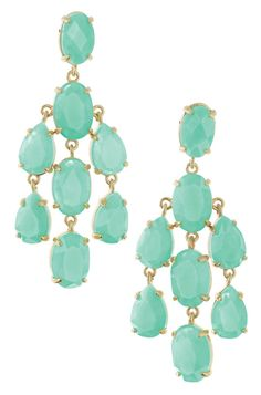 Aqua Stone & Gold Chandelier Earrings | Lily Chandeliers