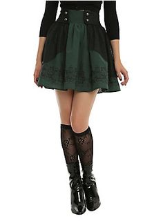 """Snape might yell at you for being late to class for taking extra time to get dressed, but at least you'll be in Slytherin colors, looking good, and in theme with Potions class! This dark green skirt features an elasticized high waist with rounded gunmetal buttons. It's got a black lace overlay and matching border print featuring several potion ingredients,<div><ul><li style=""""list-style-position: inside !important; list-style-type: disc !important"""">100% polyester</li><li…"""