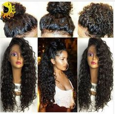 Glueless Natural Curly Human  Hair  Brazilian  Lace Front Wig Full Lace Wig
