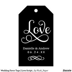"Wedding Favor Tags | Love Script in Black Wedding favor tags feature a ""Love"" white decorative script design with custom monogram design that includes the bride and groom names and wedding date. A classic flourished damask pattern dresses up the back of the card. The black background color can be customized to coordinate with your wedding color scheme."