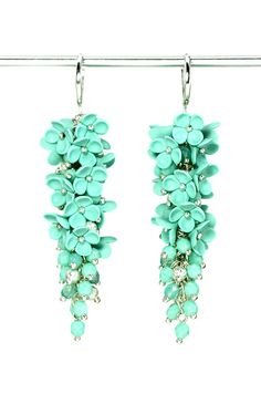 Mint Green Earrings with Flowers Floral Jewelry Mint by KittenUmka