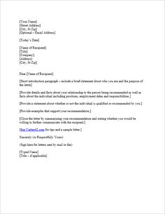 Free Letter Of Reference Template Sample Letter Of Recommendation For Former Coworker  Letters Of .