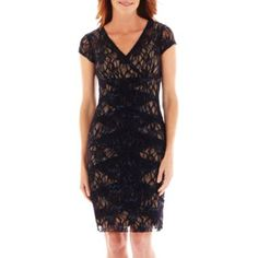 Danny Amp Nicole 174 Cap Sleeve Floral Lace Fit And Flare Dress