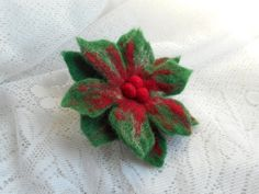 Felted Christmas brooch Felt red green by FashionFeltProducts