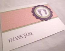 Biglietti di ringraziamento in bianco di bambino ragazza impronte a tema Set da…
