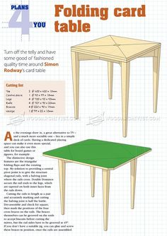#1501 Folding Card Table Plans - Furniture Plans