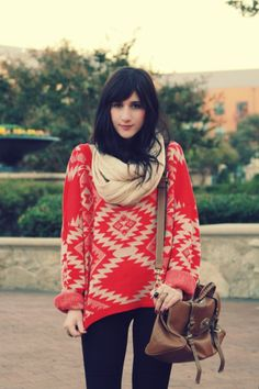 Comfy casual, tribal Aztec printed sweater, leggings, infinity scarf, purse