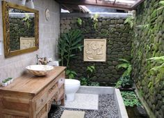 [ Romantic Neo Classic Bathroom Image Collections Outdoor Bathrooms Sinks House Spaces ] - Best Free Home Design Idea & Inspiration Tropical Bathroom Decor, Garden Bathroom, Open Bathroom, Stone Bathroom, Bathroom Images, Bathroom Ideas, Bathroom Designs, Bath Ideas, Balinese Bathroom