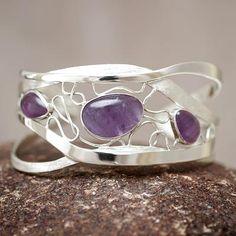 Amethyst cuff bracelet, 'Lyrical' from They help succeed worldwide. Gold And Silver Bracelets, Mens Silver Necklace, Beaded Bracelets, Silver Earrings, Bracelet Charms, Heart Bracelet, Amethyst Bracelet, Amethyst Jewelry, Gemstone Jewelry