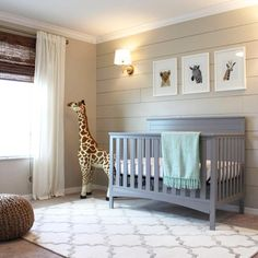 From design board to real life, this nursery is the real deal! Filled with great ideasand #DIY projects, handy-woman, Lindsay of @frills_and_drills turned her spare room into the nursery of her dreams for her baby boy (who made an early debut). Congrats!   P.S. Friendly giraffe available in the #pnshop  #nurserymakeover #nursery #nurserydecor #safari #diy