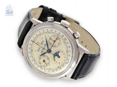 Watch: high fine, large astronomical steel Chronograph with Triple Calendar and moon phase Mathey-Tissot caliber Moon Phases, Chronograph, Calendar, Auction, Steel, Watches, Clocks, Accessories, Wristwatches