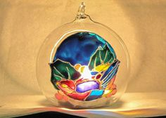 Sparrow christmas glass ball t-light by RowenaGlassCreations