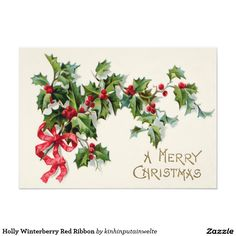 Shop Holly Winterberry Red Ribbon Postcard created by kinhinputainwelte.