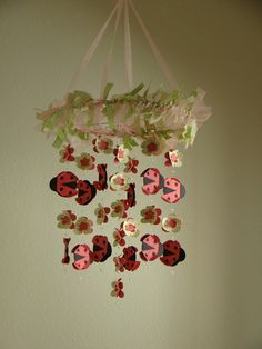Ladybug Flower Baby Mobile Chandelier by magicalwhimsy on Etsy, $60.00