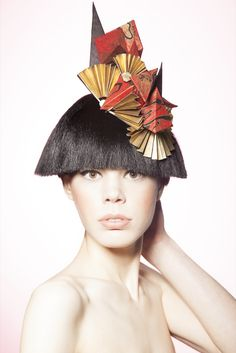 Wearable Sculpture - Paper Headpiece - Geometric Fashion