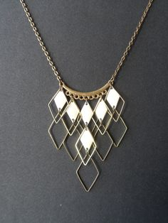Necklace / plastron diamond rhinestones enamel and bronze handmade new, real . Brass Jewelry, Modern Jewelry, Pearl Jewelry, Jewelry Necklaces, Jewelry Crafts, Jewelry Art, Jewelry Design, Jewellery, Diy Necklace