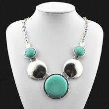 ( turquesa del grano, no de plástico o resina) cosecha antigüedades de tíbet plata turquesa collar colgante collar redondo n323(China (Mainland))
