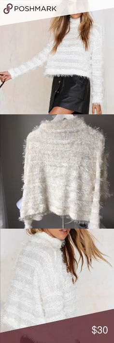 White Party Vintage Fuzzy crop sweater Super cute party sweater that looks great with a skirt or high waisted jeans! This fuzzy sweater features a mock neck, slightly cropped silhouette and fuzz detailing. Nasty Gal Sweaters Cowl & Turtlenecks