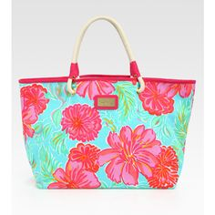 Lilly Pulitzer Shoreline Flower Tote ($68) ❤ liked on Polyvore featuring bags, handbags, tote bags, print tote, beach tote bags, print handbags, beach purse and flower print handbags