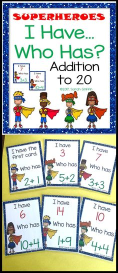 I Have Who Has?   Addition to 20   Math Game   Superheroes   card game   Kindergarten   First Grade
