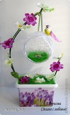 Новые работы Nylon Flowers, Paper Flowers Diy, Flower Crafts, Jute Crafts, Diy And Crafts, Crafts For Kids, Topiary Centerpieces, Diy Y Manualidades, Idee Diy