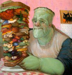 What Frankenstein had for breakfast...I have a Frankenstein Monster Eat Cake book.