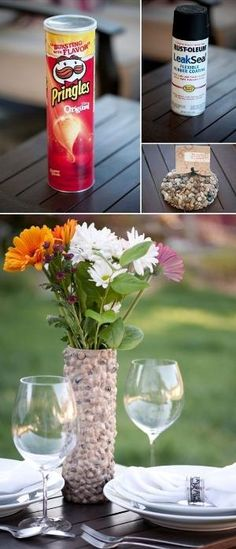 DIY Rustic rock vase. Shh, nobody has to know it's really a chips container. Visit Walgreens.com to get the supplies you need for this DIY craft.
