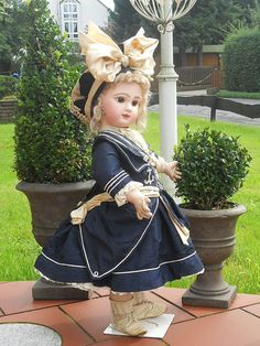 *FANTASTIC ~ French Antique Blue Silk Navy Dress for BeBe with Velvet from whendreamscometrue on Ruby Lane Victorian Dolls, Antique Dolls, Vintage Dolls, Pretty Dolls, Beautiful Dolls, Sailor Dress, Doll Costume, Bisque Doll, Old Dolls
