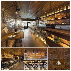 Restaurante donde predomina es la madera y el ladrillo