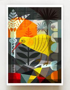 Auckland, Bird Graphic, Graphic Art, Kiwi Bird, New Zealand Art, Nz Art, Bird Quilt, Poster Prints, Art Prints