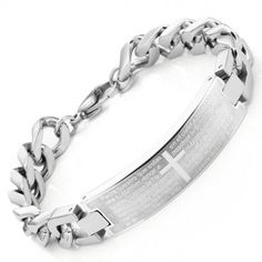 Unique Prayer Cross Stainless Steel Men's Link Bracelet Silver