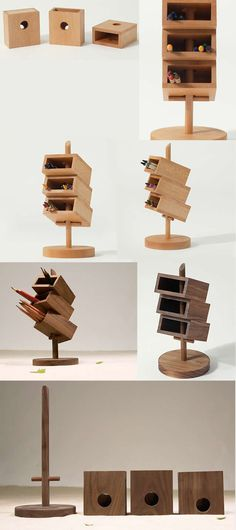 3 Tier Wooden Wood Office Desk Organizer iPhone Cell Phone Holder Station Dock Pen Pencil Holder Stand Holder