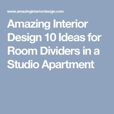 Amazing Interior Design  10 Ideas for Room Dividers in a Studio Apartment