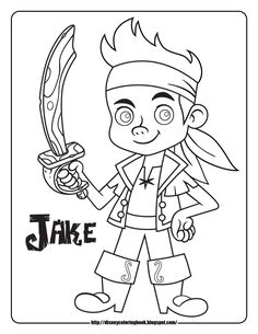 Jake and The Neverland Pirates Disney Junior Disney Jr Disney Coloring Sheets, Pirate Coloring Pages, Colouring Pages, Printable Coloring Pages, Coloring Pages For Kids, Coloring Books, Free Coloring, Disney Jr, Disney Junior