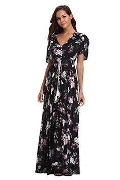 Ferrendo Women's Maxi Dress Button Up Split Flowy Bohemian Party Beach Dress Floral Print Maxi Dress, Maxi Wrap Dress, Maxi Dress With Sleeves, Boho Dress, Beach Dresses, Maxi Dresses, Short Sleeve Dresses, Bohemian Party, Button Dress