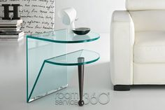 Birillo Glass End Table with Wenge Leg by Tonelli