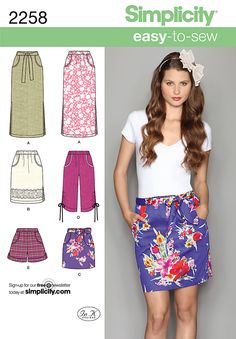 Simplicity pattern 2258: Misses' Easy to Sew Skirts & Shorts. Skirts & Pants sewing patterns.  I like the blue floral skirt