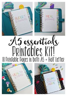 Printable planner inserts for A5 planners- perfect for Carpe Diem, A5 Filofax, Large kikki.K, etc.... everything you need to get organized!