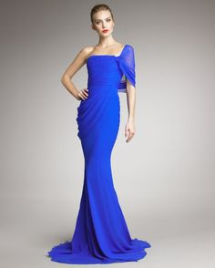 1stdibs.com   Jason Wu Cobalt Blue One Shoulder Evening Gown