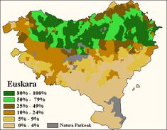 Percentage of fluent speakers of Basque. Those areas where Basque is not a native language are included within the 0-20% interval)