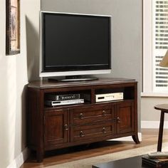"Sterling Cottage Style Design Dark Cherry Wood Finish 55"" TV Console with Front Storage Units Corner Stand"