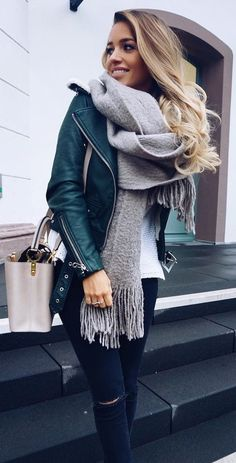 #fall #fashion ·  Green Leather Jacket + Grey Scarf + Ripped Jeans