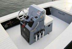 Standard console allows for flush mount electronics and has a lockable, bi- fold acrylic door that is removable for easy access into the console. Note the trim tab switch landing offering trim tab operation without leaving the throttle. Make A Boat, Build Your Own Boat, Diy Boat, Centre Console Boat, Boat Console, Pontoon Seats, Dock Bumpers, Flat Bottom Boats, Boat Restoration