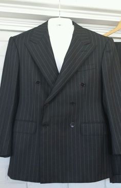 14f18e3b5 Ralph Lauren Purple Label Worsted Wool Black Pinstripe Double Breasted Suit  in Clothing