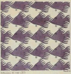 The images all remain the same while at the same time, another image is produced between the white fish, forming a darker fish facing the other direction. The direction of the fish, and color variation is an example of rhythm in the image. Mc Escher, Escher Kunst, Escher Art, Of Wallpaper, Pattern Wallpaper, Op Art, Mathematical Drawing, Textures Patterns, Print Patterns