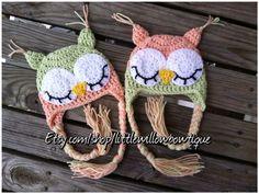 7 sizes NB Adult Twin Sleepy Crochet Owl by littlewillowbowtique