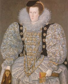 ca. 1595 Unknown lady attributed to William Segar (City of Kingston-upon-Hull Museum, UK)    Previous  Next  List  The wheel farthingale and mammoth puffed sleeves are carried off well in this 1595 Segar portrait.    The Wikipedia article for William Segar is here.