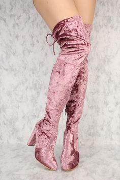 17a9902b908 Pink Slim Tassel Tie Round Toe Over The Knee Thigh High Boots Chunky Velvet